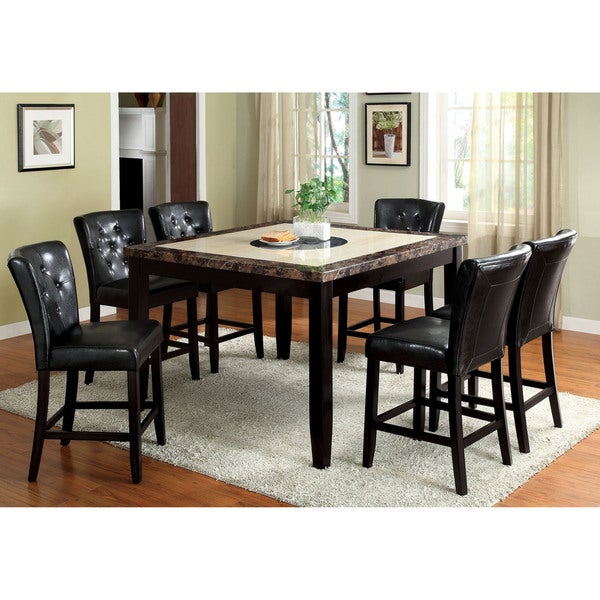 furniture of america bellasia 7 piece black counter height dining set free shipping today. Black Bedroom Furniture Sets. Home Design Ideas