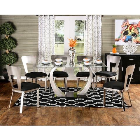 Furniture of America Jami Contemporary Silver Metal 7-piece Dining Set