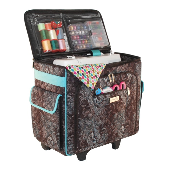 Quilted rolling sewing tote free shipping today for Arts and crafts sewing machine