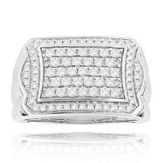 Luxurman 14k White Gold 1 1/5ct. TDW Diamond Ring (H-I, SI1-SI2)