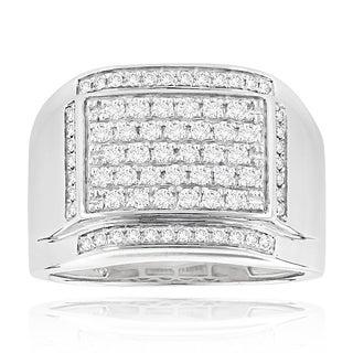 Luxurman 14k Gold Men's 1 1/5ct TDW Diamond Ring (H-I, SI1-SI2)