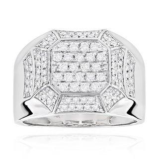 Luxurman 14k White or Yellow Gold Men's Diamond Ring