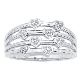 Divina Sterling Silver 1/10ct TDW Diamond Heart Ring (H-I, I3)