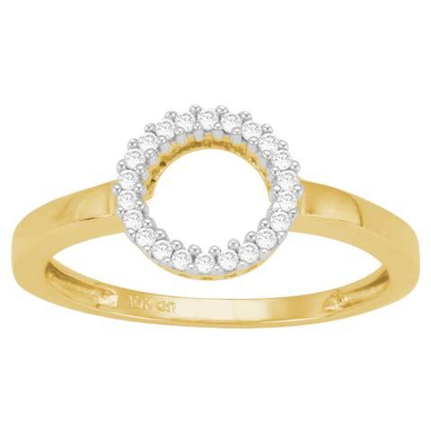Divina 10k Yellow Gold 1/10ct TDW Diamond Circle Ring (J-K, I3)