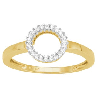 Divina 10k Yellow Gold 1/10ct TDW Diamond Circle Ring (J-K, I3)