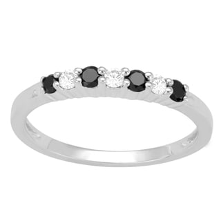 Divina Sterling Silver 1/4ct TDW Black and White Diamond Ring (H-I, I3)