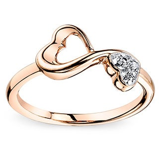 Love Grows Rose Tone Sterling Silver and Diamond Heart Ring (Size 7)