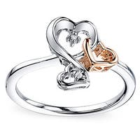 Love Grows Two-tone Sterling Silver and Diamond Three Heart Ring (Size 7)