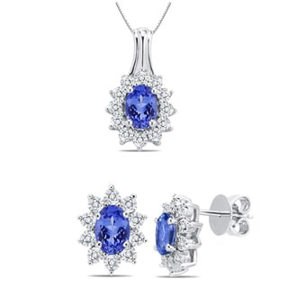 Divina Sterling Silver Tanzanite and 1/10ct TDW Diamond Jewelry Set (G-H, I2-I3)