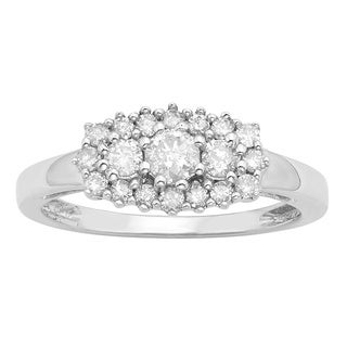 Divina Sterling Silver 1/2ct TDW Diamond Cluster Fashion Ring (H-I, I3)