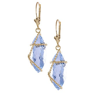 14k Yellow Gold Blue Topaz Chain Wrapped Dangle Earrings