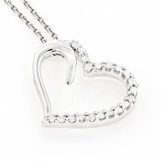 Luxurman 10K Gold 0 2ct TDW Diamond Floating Heart Pendant