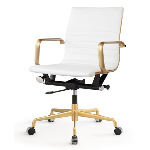 Dix Office Chair in Gold and White Leatherette