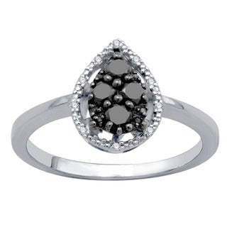 Divina Sterling Silver 1/2ct TDW Black and White Diamond Oval Ring