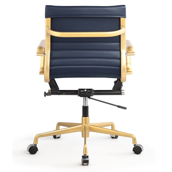 dix office chair in gold and navy leatherette - free shipping