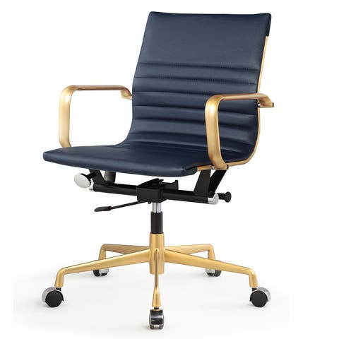 M348 Vegan Leather Office Chair Gold/Navy