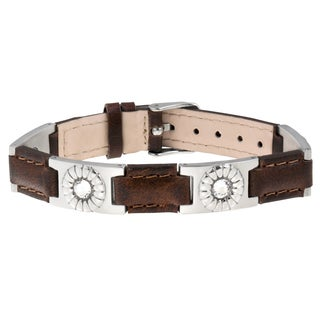 Sabona Brown Leather Gem Stainless Magnetic Bracelet