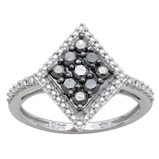Divina Sterling Silver 1/3ct TDW Black Diamond Ring