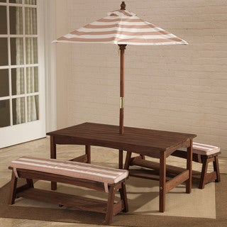 Kidkraft Outdoor Table Bench Set With Cushions Umbrella
