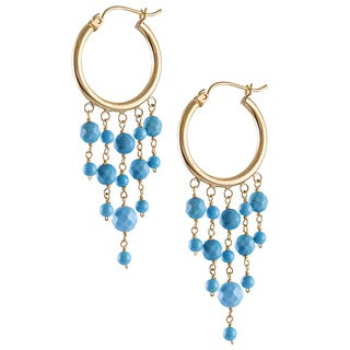 14k Yellow Gold Turquoise Chandelier Hoop Earrings