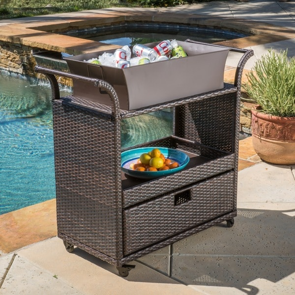 Ravenna Outdoor Wicker Bar Cart by Christopher Knight Home. Opens flyout.