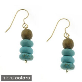 Handcrafted Magnesite Rondells with Wood Beads Drop Earrings (India)