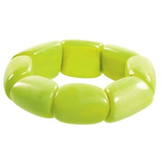 Handmade Faire Collection Riverbed Tagua Nut Lime Green Bracelet (Ecuador)