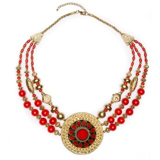 Rashmi' Medallion Drop Beaded Necklace (India)