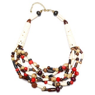 Multi-bead Necklace with Simulated Ivory details (India)
