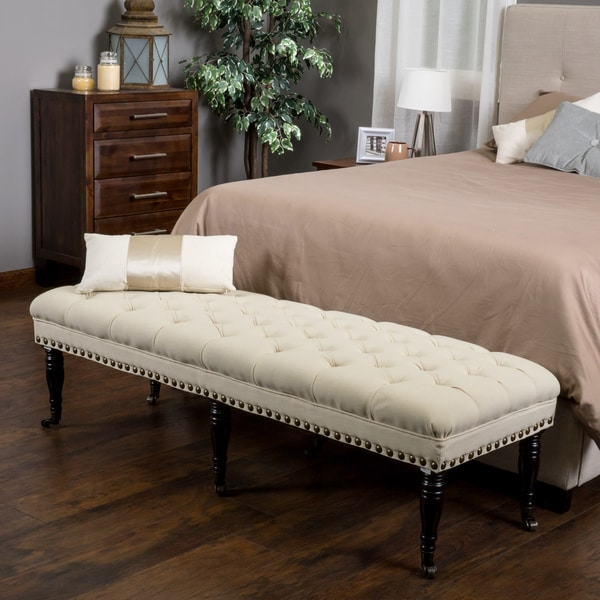 Ottoman Bench Bed Bench With Tufted Fabric In Off White ...