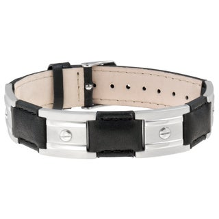 Sabona Black Leather Stainless Nailshead Magnetic Bracelet
