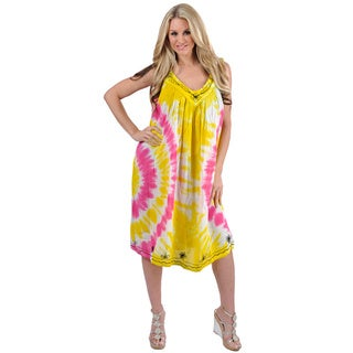 La Leela One-size-fits-most Dress/Coverup - Viscose Yellow Multi Tie Dye Design Printed