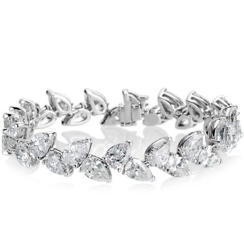 SummerRose 18k White Gold 27 1/8ct TDW 2-row Pear-cut Diamond Tennis Bracelet