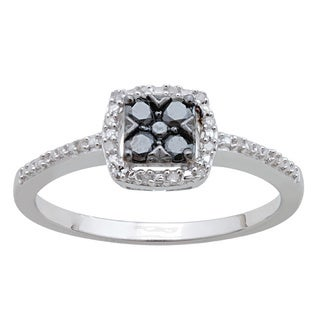 Divina Sterling Silver 1/4ct TDW Black and White Diamond Ring (H-I, I2-I3)