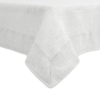 Burlap Mitered Border Hemmed White Tablecloth