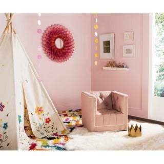 Safavieh Kids Little Decorator Pink and White Childrens Club Chair