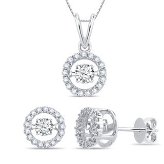 Divina 14k White Gold 3/5ct TDW Dancing Diamond Jewelry Set (G-H, I1-I2)
