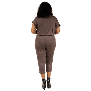 24/7 Comfort Apparel Women's Plus-Size Short Sleeve Front-Tie Jumpsuit