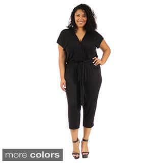 24/7 Comfort Apparel Women's Plus-Size Short Sleeve Front-Tie Jumpsuit|https://ak1.ostkcdn.com/images/products/9996057/P17145341.jpg?impolicy=medium