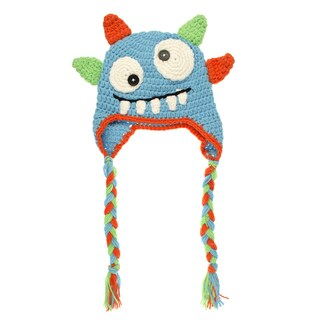 Crummy Bunny Hand-knit Blue Monster Baby Beanie