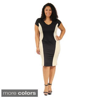 24/7 Comfort Apparel Women's Cap-Sleeve Black&Cream Sheath Dress