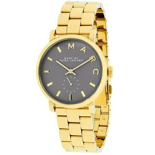 Marc Jacobs Women's MBM3281 Baker Round Goldtone Bracelet Watch|https://ak1.ostkcdn.com/images/products/9996184/P17145468.jpg?impolicy=medium