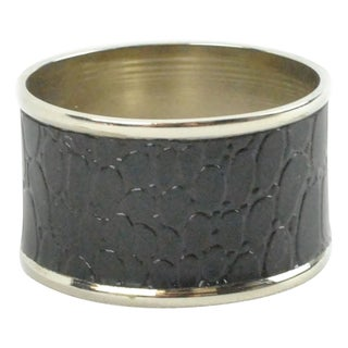 Polished Silver Black Croc Napkin Ring (Set of 4)