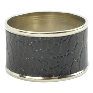 Polished Silver Black Croc Napkin Ring (Set of 4)