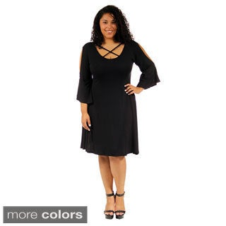 24/7 Comfort Apparel Women's Plus-size Abstract Neck Split-Sleeve Dress