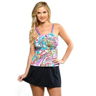 It Figures! Peek a Boo Tankini with High Waisted Skirtini