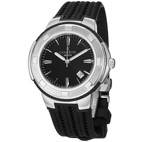 Charriol Men's CE443B.173.104 'Celtic' Black Dial Black Rubber Strap Swiss Quartz Watch