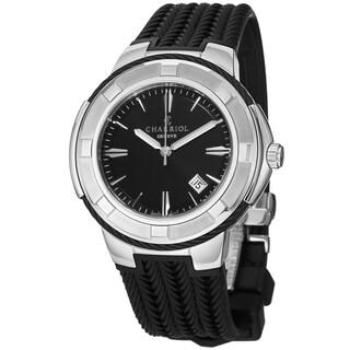 Charriol Men's 'Celtic' Black Dial Black Rubber Strap Swiss Quartz Watch