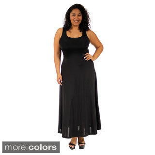 24/7 Comfort Apparel Women's Plus-size Scoop-Neck Tank Maxi Dress