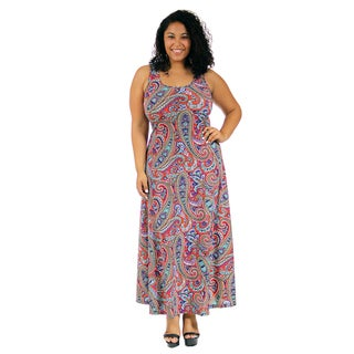 24/7 Comfort Apparel Women's Plus-size Vibrant Paisley Tank Maxi Dress